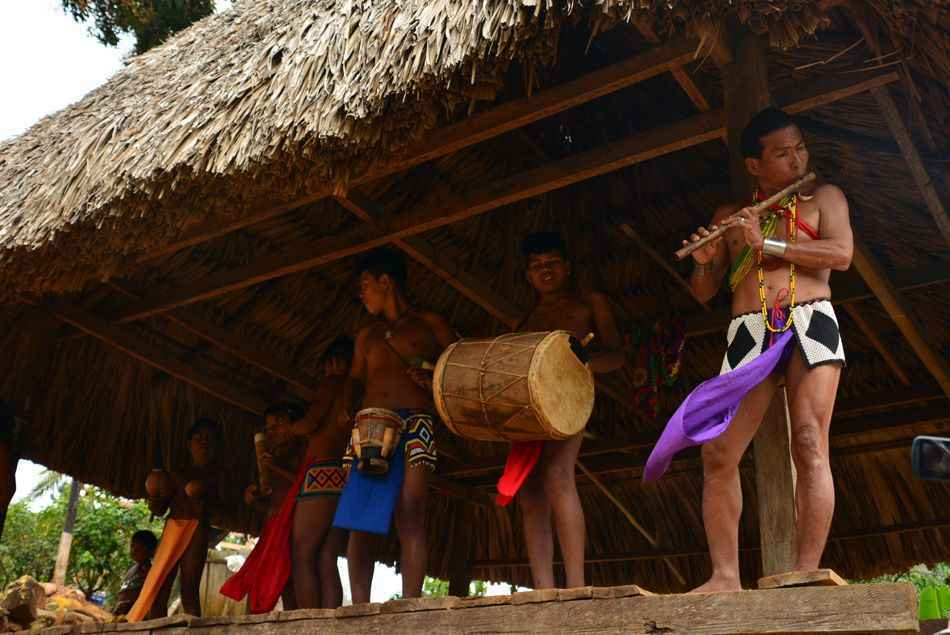 The Embera community entertain our group