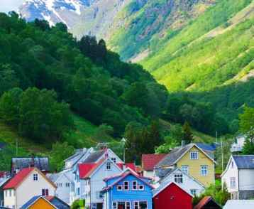 Village and Sea view on mountains in Geiranger fjord, Norway