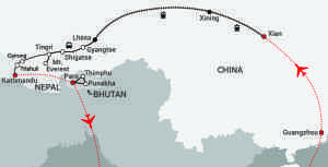 Himalayan Express-map updated Gyirong and train