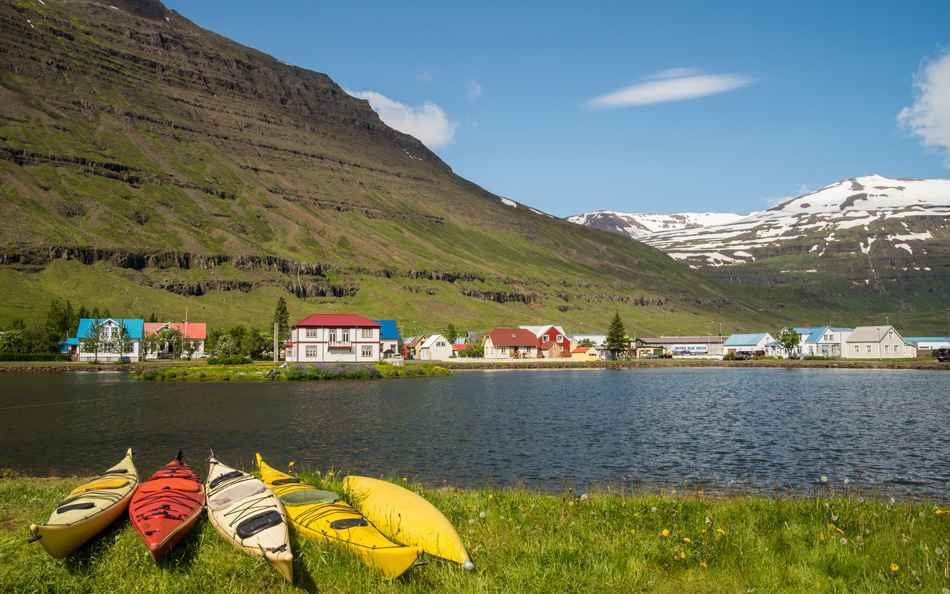 Scenic city of Seydisfjordur in Iceland