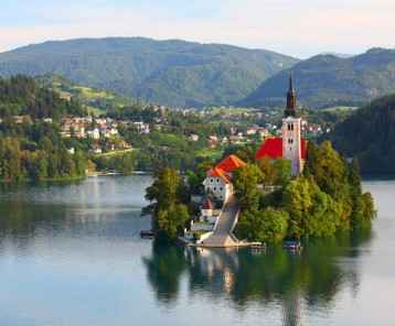 Catholic church on an island in Lake Bled, Slovenia-resize