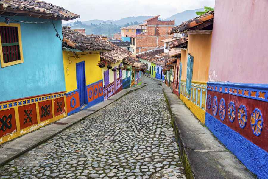 Colourful cobblestone street