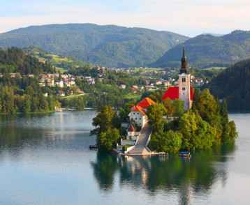 Hero - church on an island in Lake Bled, Slovenia