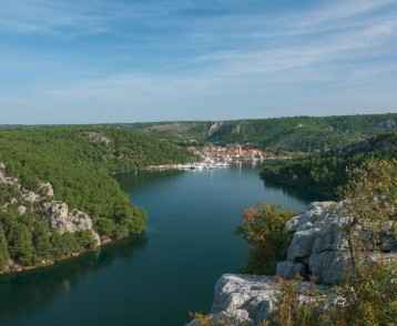 Krka River and Skradin in distance