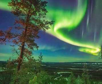 Beautiful Nothern lights over Lapland