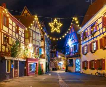 Christmas street at night in Colmar, Alsace, France