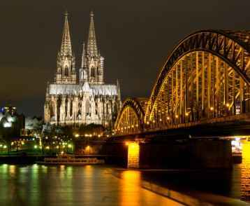Cologne Cathedral and Skyline at Night