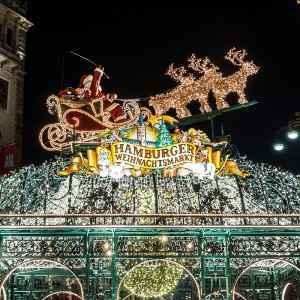 Beautiful illuminations in Hamburg at Christmas week. Weihnachtsmarkt