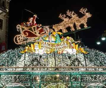 Beautiful illuminations in Hamburg at Christmas week. Weihnachtsmarkt