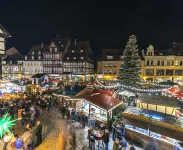 Christmas lighting on the streets of medieval town Quedlinburg