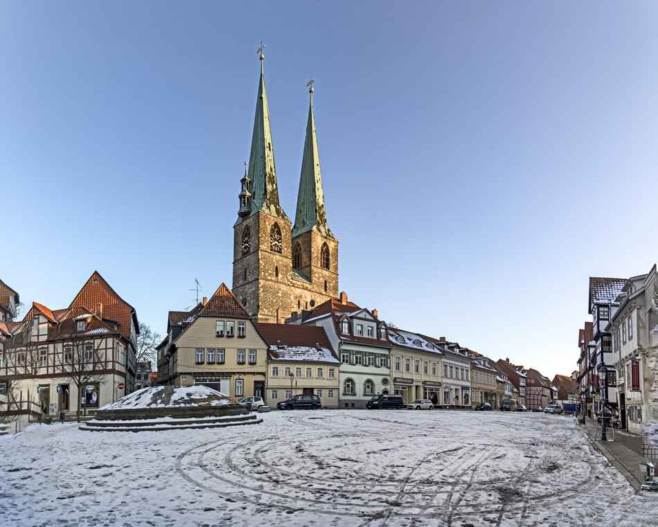 St. Nicolai church and old half timbered houses in Quedlinburg