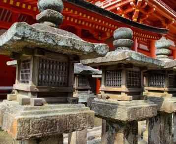 Stone lanterns in Nara, Japan