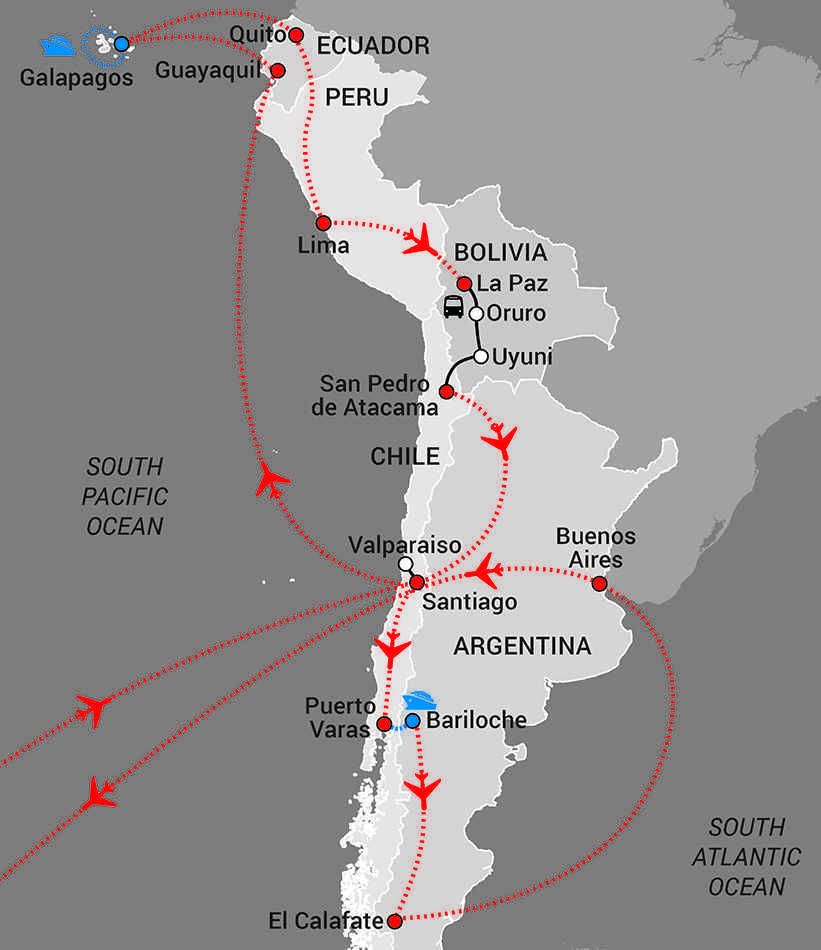 Galapagos to Patagonia Map - web