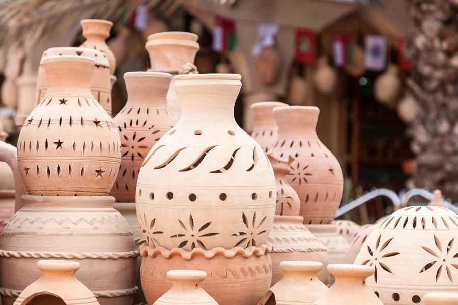 Terracotta pots for sale in Nizwa, Oman
