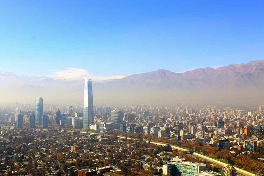 Santiago, chile. View from Cerro San Cristobal.