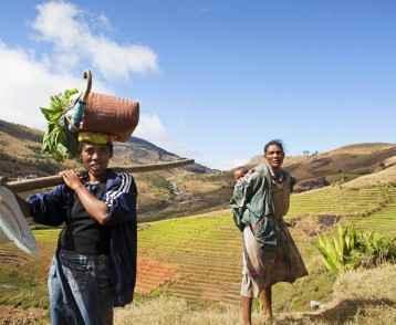 Two women in field - Madagascar