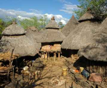 African huts in Konso village, Ethiopia