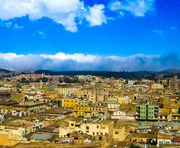 Aerial view to Asmara capital of Eritrea