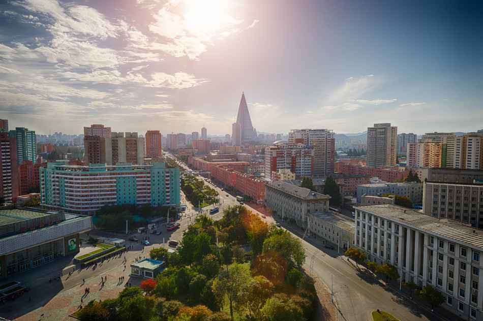PYONGYANG,NORTH KOREA-OCTOBER 13,2017:Panorama of the city from