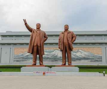NORTH KOREA, PYONGYANG - July 24: Mansudae Monument at July 24, 2014 in Pyongyang, North Korea. Mansudae is the most respected monument of the late leaders of the DPRK.
