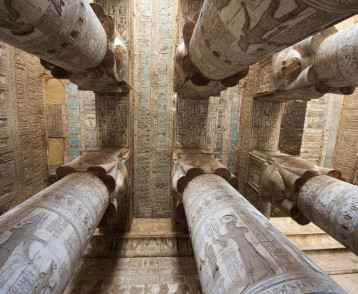 Columns in Dendera Temple, Egypt