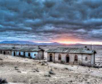 Sunrise at abandoned mining village in HDR