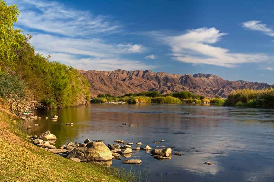 Landscape of Orange River and mountains