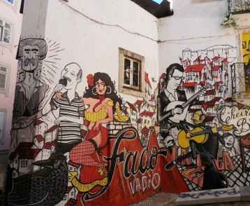 Fado-themed street art, Lisbon