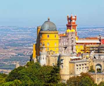 Aerial view of Palace da Pena. Sintra, Lisbon. Portugal. European travel