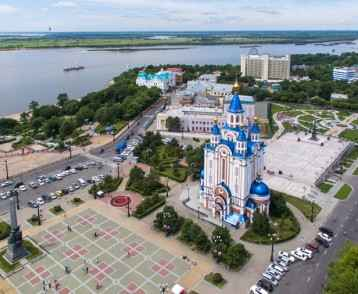Khabarovsk Komsomolskaya square. the view from the top. filmed with a drone. the Russian far East.
