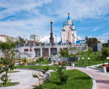 Russia, Khabarovsk, July 22: Square of military glory