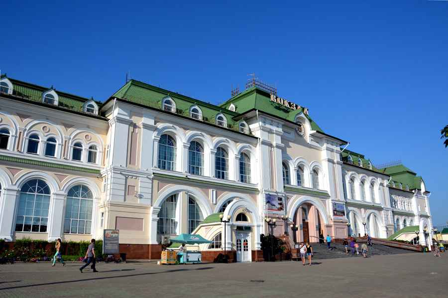 Train station in the city of Khabarovsk, Russia