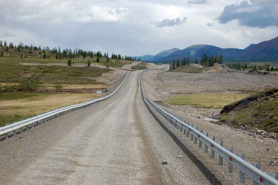 Gravel road at Kolyma state highway