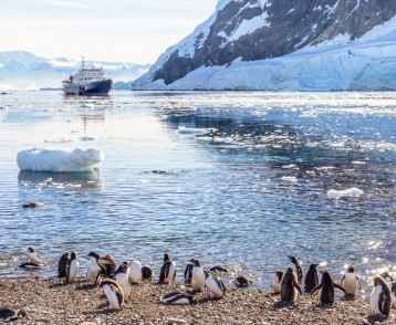 Touristic cruise ship in the antarctic lagoon among icebergs and