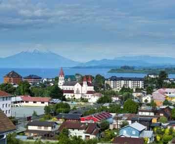 View of the city of Puerto Varas and Llanquihue lake and Osorno