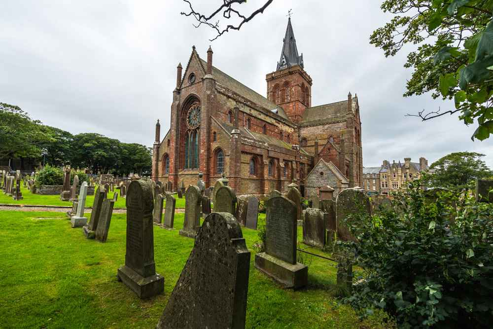 Cemetery outside St. Magnus Cathedral, Kirkwall, Orkney islands,