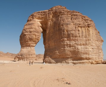 The rock formation known as the Elephant Rock in Al Ula, Saudi A