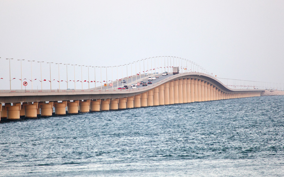 King Fahd Causeway over Gulf of Bahrain. Middle East