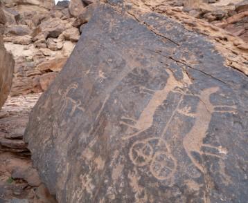 Ancient cave paintings / rock art in Ha'il Province in Saudi Ara