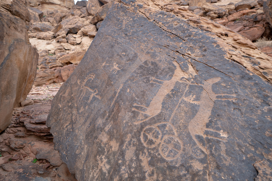 Ancient cave paintings / rock art in Ha'il Province in Saudi Ara