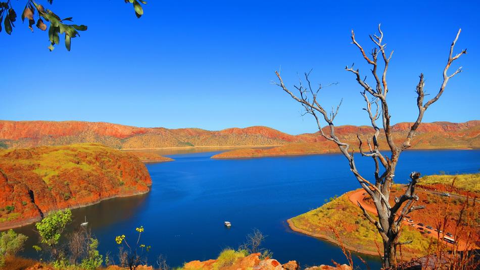 High up View of beautiful Lake Argyle nearby Kununurra, West Aus