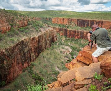 Landscape photographer photographing the iconic cliffs and high