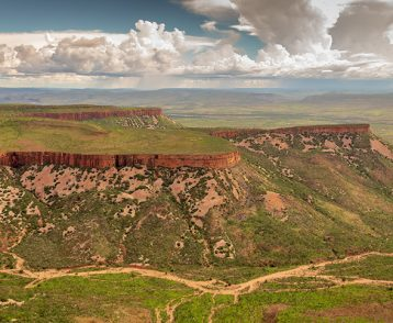 Wide angle aerial view of the iconic cliffs and high plateau of