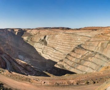Panoramic view of the enormous Super Pit, a gold mine in Kalgoorlie, Western Australia