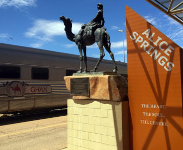 The Ghan arrives at the station in Alice Springs
