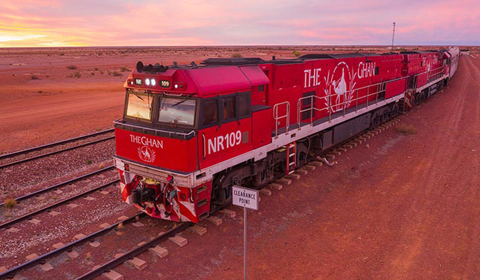 The Ghan at sunset